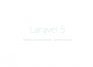 Laravel 5 Erster Aufruf