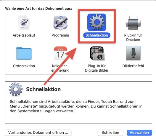 Mac Automator Schnellaktion